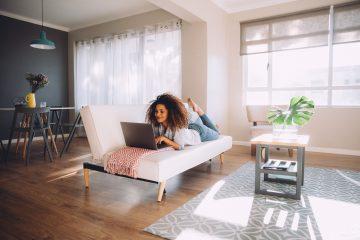 Woman laptop home