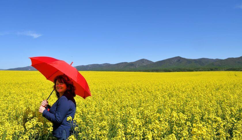 umbrella retirement woman nature