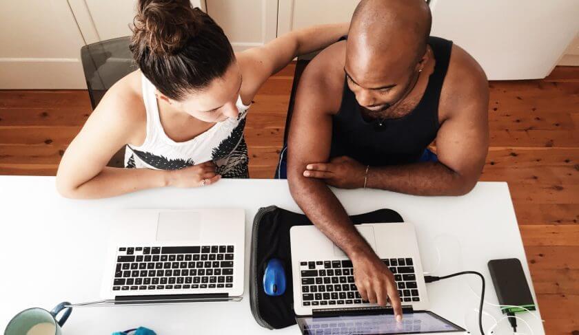 couple laptop computer