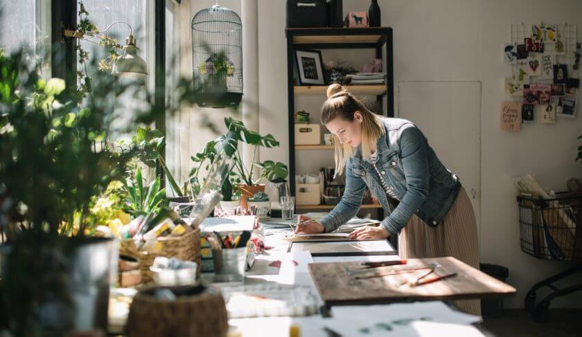 chaos busy working from home woman