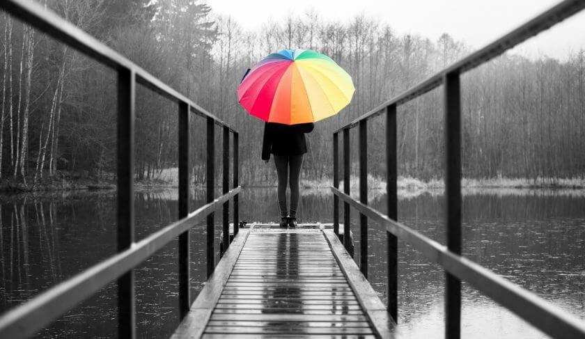 rain depression woman alone lonely